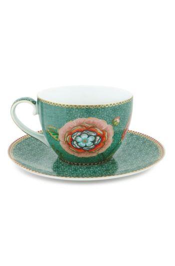 Spring to Life Cappuccino Tasse & Untertasse Grün