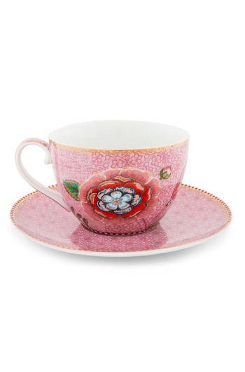 Spring to Life Cappuccino Tasse & Untertasse Rosa