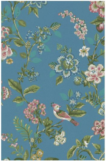 Botanical Print wallpaper bright blue