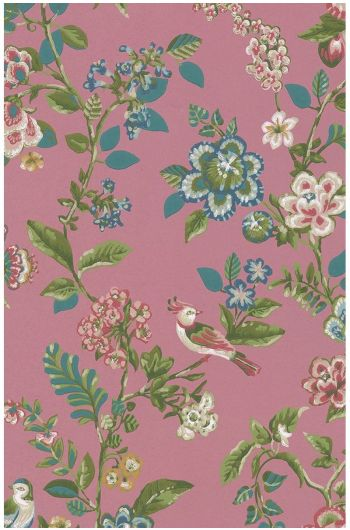 Botanical Print wallpaper dark pink