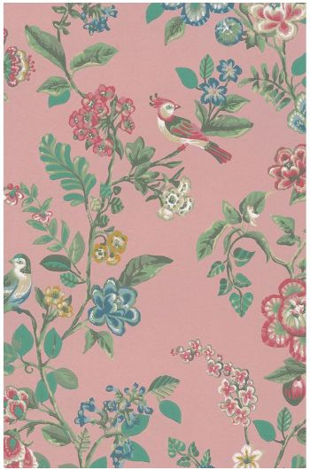 Botanical Print wallpaper soft pink