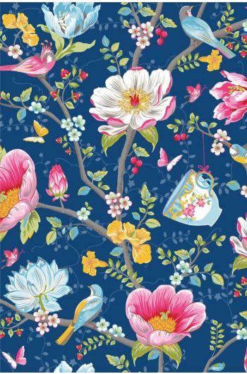 Chinese Garden wallpaper dark blue