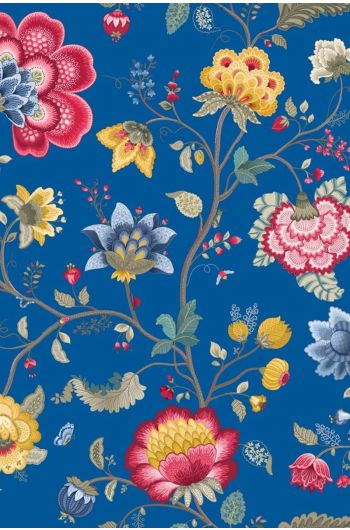 Floral Fantasy behang donkerblauw