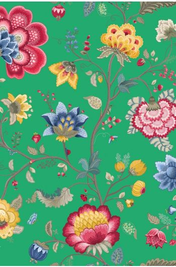 Floral Fantasy behang groen