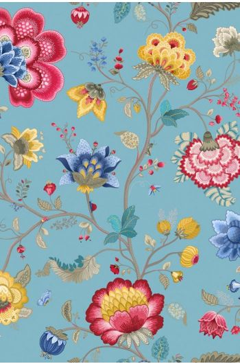 Floral Fantasy wallpaper light blue