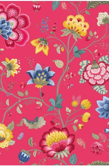Floral Fantasy behang framboos