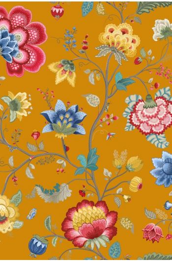 Floral Fantasy behang geel