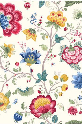 Floral Fantasy behang wit