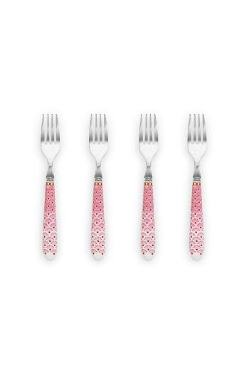 Floral set/4 gebaksvorkjes Roze