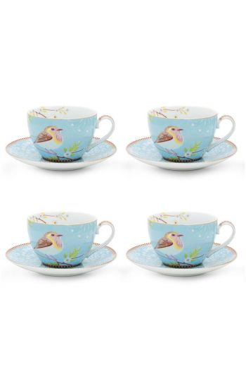 Floral Set/4 Cappuccino Cups & Saucers Blue