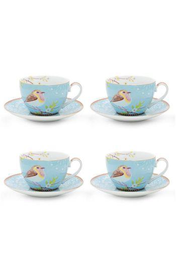 Floral Set/4 Cappuccino Tasse und Untertasse Hummingbird Blau