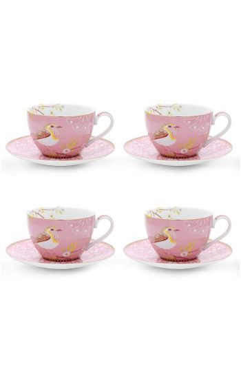 Floral Set/4 Cappuccino Cups & Saucers Pink
