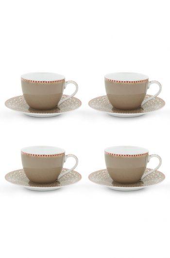 Floral Set/4 Espresso Tassen und Untertassen Bloomingtales Khaki