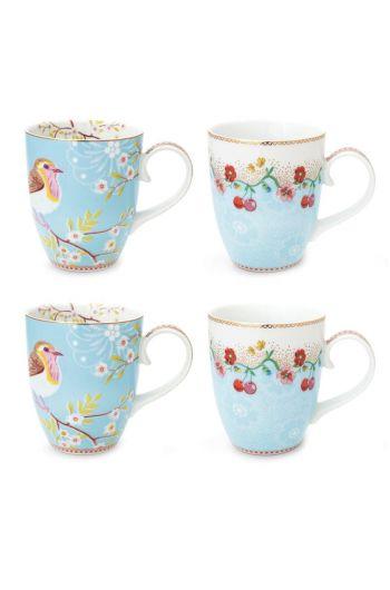 Floral Set/4 Mugs Large Blue