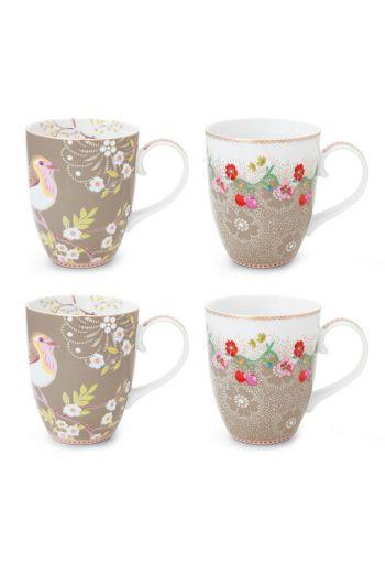 Floral Set/4 Mugs Large  Khaki