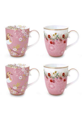 Floral Set/4 Mugs Large Pink