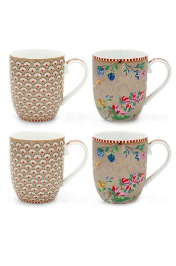 Floral Set/4 Mugs small Khaki