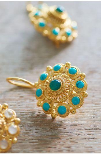 Ohrringe vergoldet Grandma's Astrantia Blau