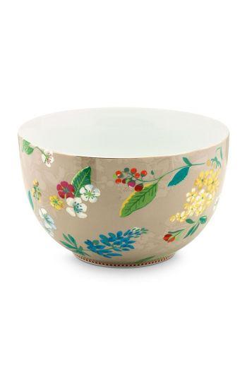 Floral Bowl Hummingbirds 23 cm Khaki