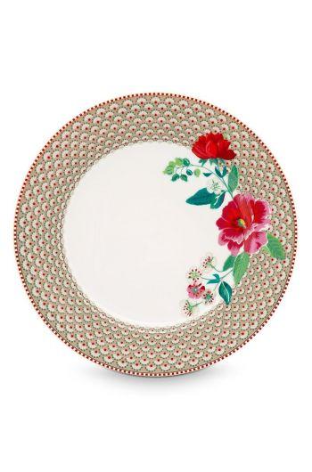 Floral dinner plate Rose 26.5 cm Khaki