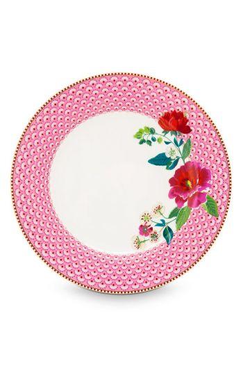 Floral dinner plate Rose 26,5 cm Pink