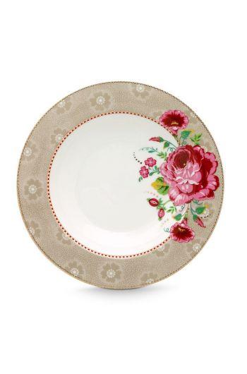 Floral soepbord Rose 21,5 cm Khaki