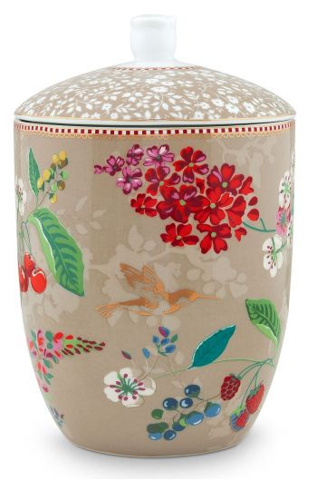 Floral Storage Jar Hummingbirds Khaki