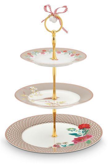 Floral Cake Stand 3 layers Floral Khaki