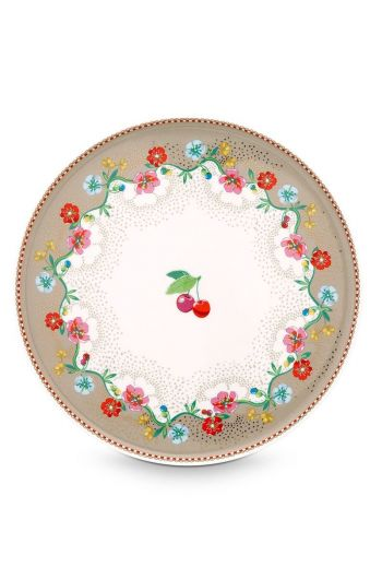 Floral Mini Cake Tray Cherry Khaki