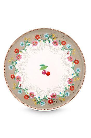 Floral mini taartplateau Cherry Pink Khaki
