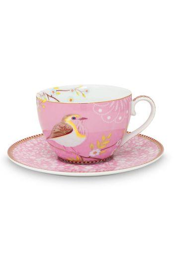 Floral Cappuccino Tasse und Untertasse Early Bird Rosa