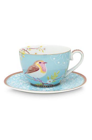 Floral Cappuccino Tasse und Untertasse Early Bird Blau