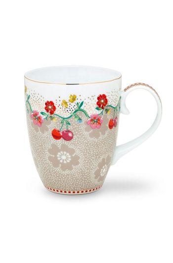 Floral Mug Large Cherry Khaki