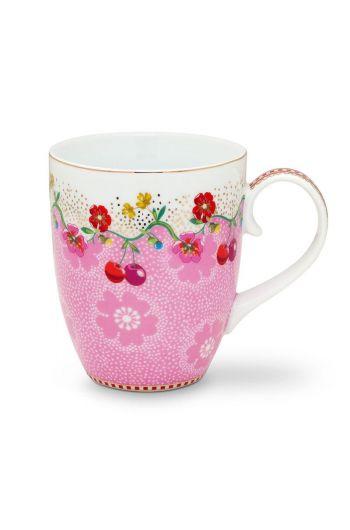 Floral Tasse groß Cherry Rosa