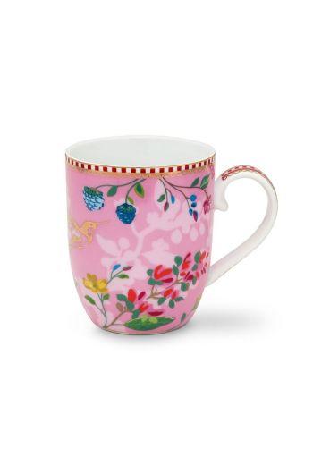 Floral Mug Small Hummingbirds Pink