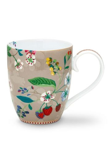 Floral Mug XL Hummingbirds Khaki