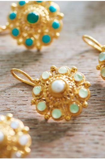 Ohrringe vergoldet Grandma's Astrantia Hellgrün
