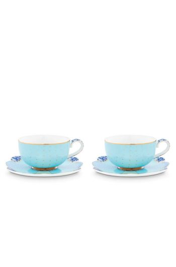 Royal Set/2 Espresso Cups & Saucers Blue