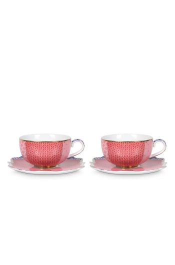 Royal Set/2 Espresso Cups & Saucers Pink