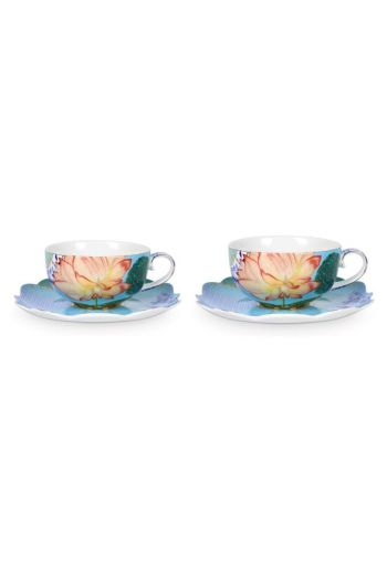 Royal Set/2 Tea Cups & Saucers Flowers