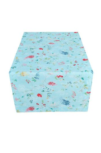 Floral Table Runner Hummingbirds Blue