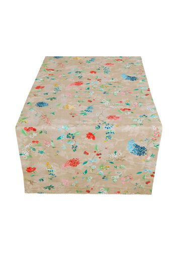 Floral Table Runner Hummingbirds Khaki