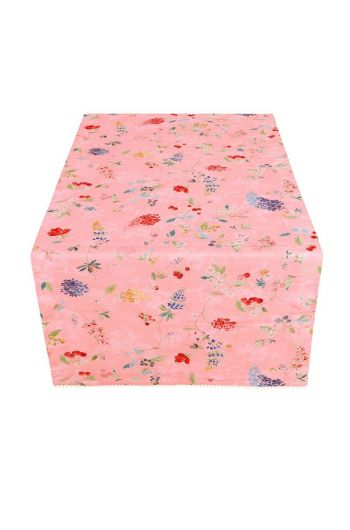 Floral Table Runner Hummingbirds Pink