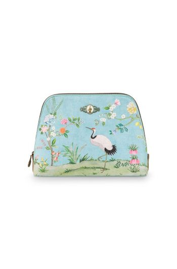 Cosmetic Bag Triangle Large Floral Good Morning Blue