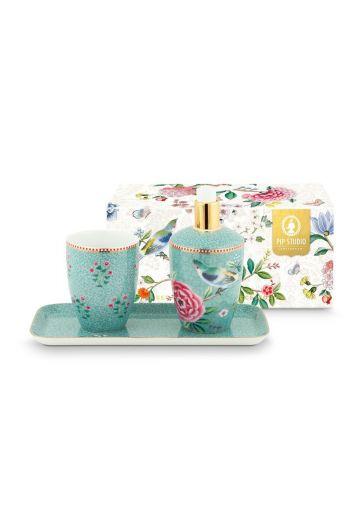 Set von Badezimmeraccessoires Floral Good Morning Blau