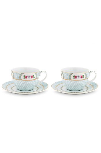 Blushing Birds Set of 2 Cappuccino Cups & Saucers white