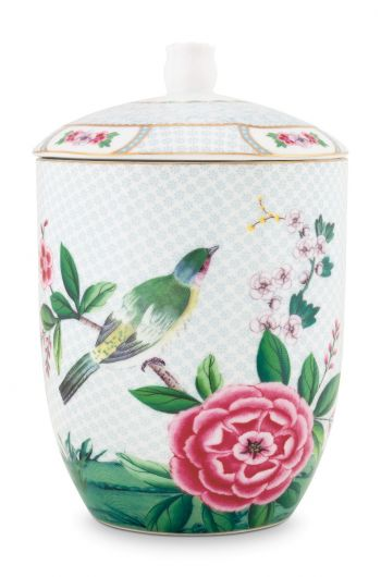 Blushing Birds Storage Jar white