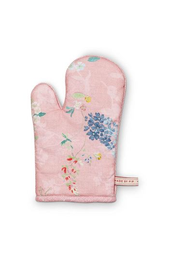 Oven Gloves Hummingbirds Pink