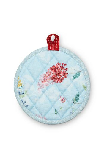 Round Pot Holder Hummingbirds Blue