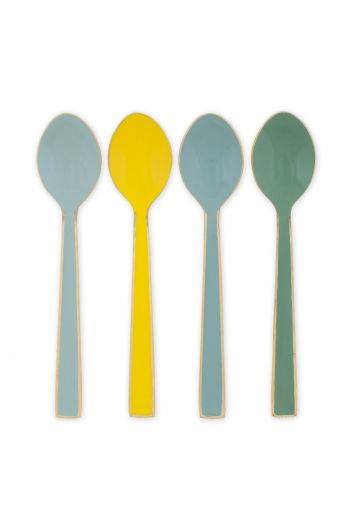 Blushing Birds Set of 4 Enamelled Spoons